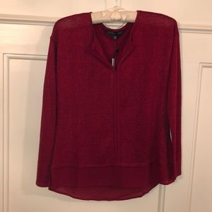 Red sweater with sheer hem detail